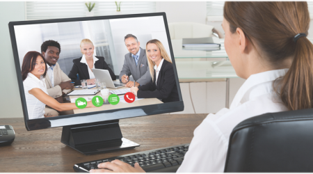 Business woman on a virtual meeting with other business professionals