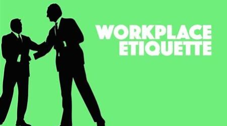 "Silhouettes of two business men with the words ""Workplace Etiquette"""