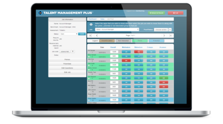 Talent Management Plus software displayed on a laptop
