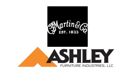 Martin Guitar and Ashley Furniture logos