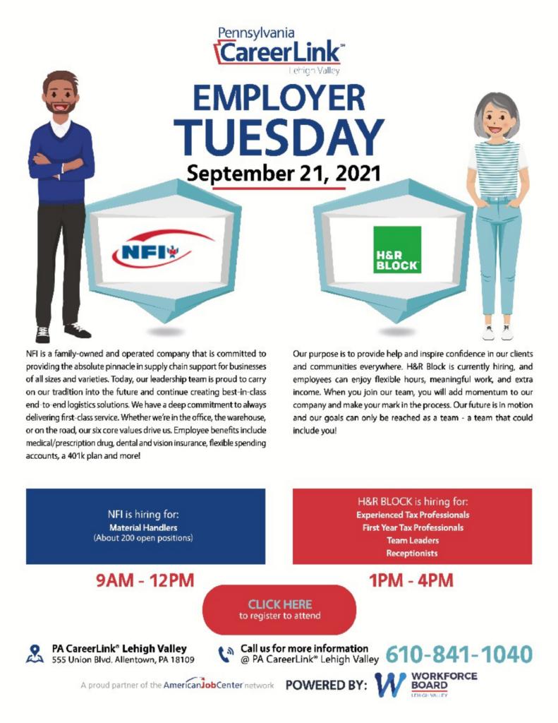 September 21 Employer Tuesday Event Flyer