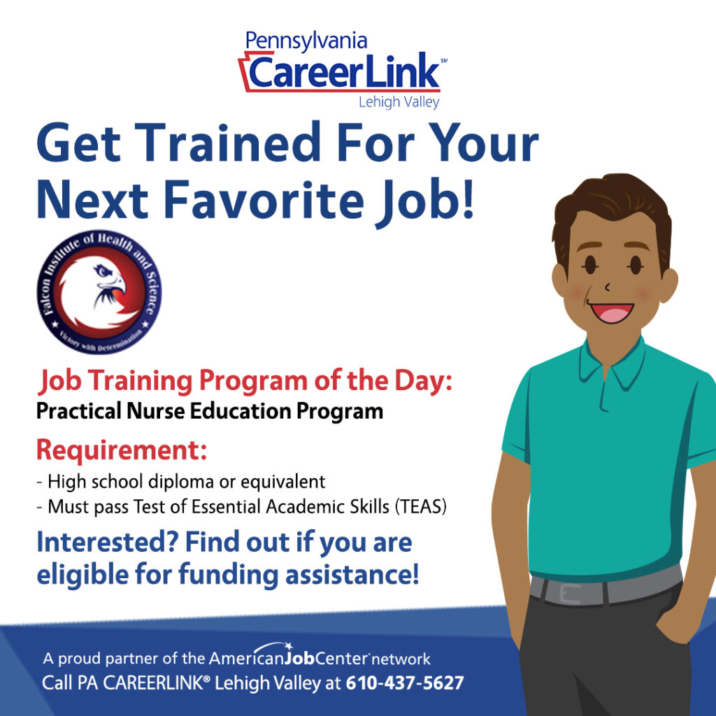 Falcon Institute of Health and Science Job training program of the day graphic