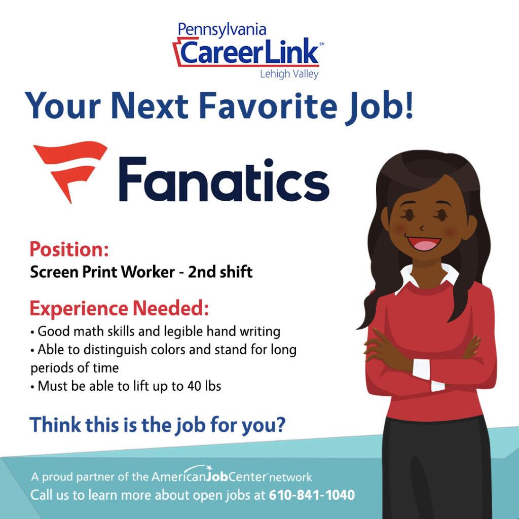 Fanatics Job of the Day graphic