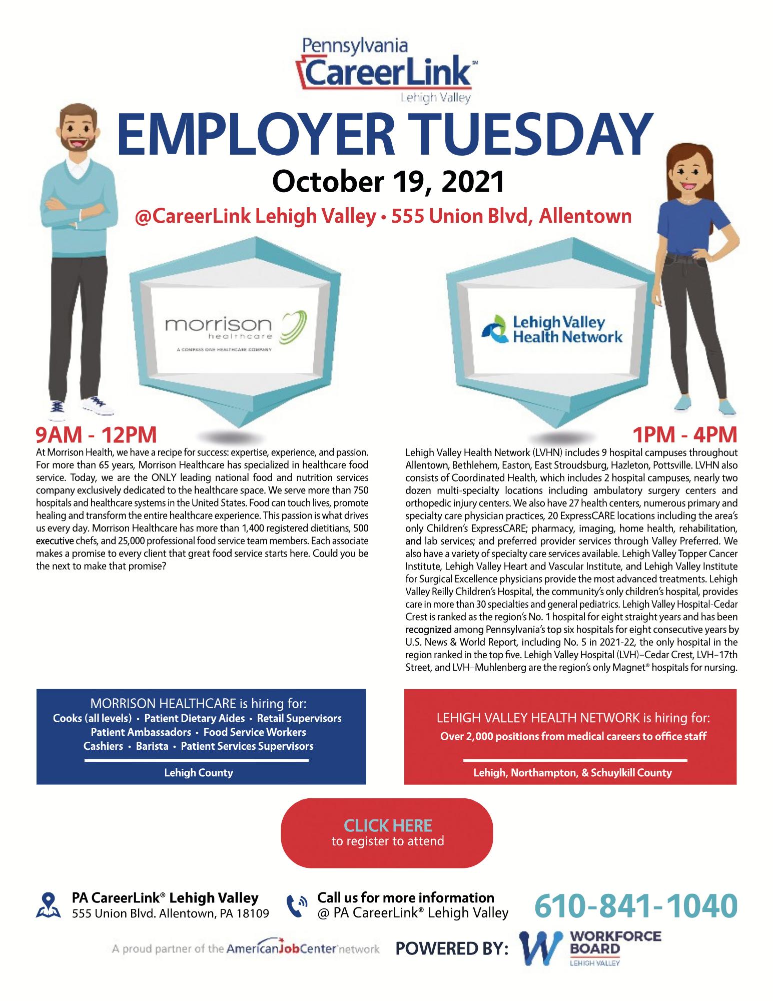 Employer Tuesday October 19 flyer