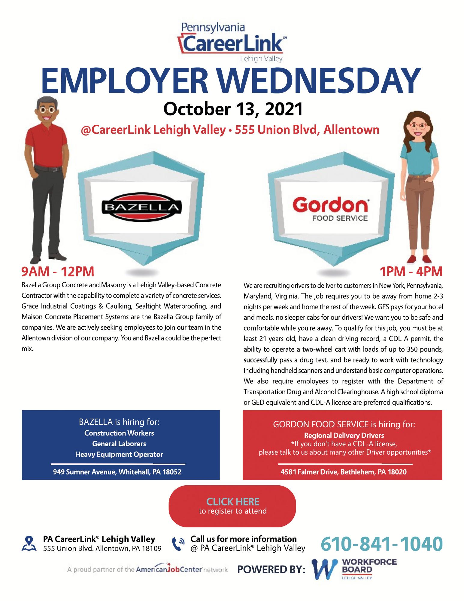 Employer Wednesday flyer October 13